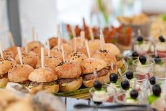 生日表用食物 快餐和开胃菜在表上 鱼和生肉与菜 汉堡用肉 免版税库存图片