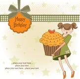 生日贺卡愉快杯形蛋糕的女孩 皇族释放例证