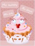 生日贺卡愉快杯形蛋糕的问候 向量 免版税图库摄影