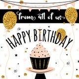 生日贺卡愉快的向量 与金黄气球和杯形蛋糕的背景 横幅的,飞行物,小册子,礼物模板 免版税库存图片