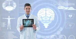 医生显示医疗签署未来派背景 免版税库存图片