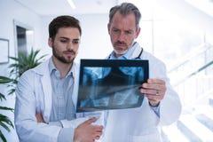 医生有关于X-射线报告的讨论在走廊 免版税库存照片