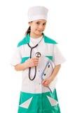 医生服装的小女孩 免版税图库摄影