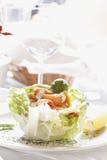 生气勃勃三文鱼沙拉用家庭做的调味汁 免版税图库摄影