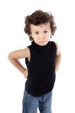 生气可爱的男孩获得 免版税库存照片
