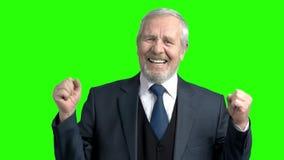 生气年长商人,绿色背景 股票录像