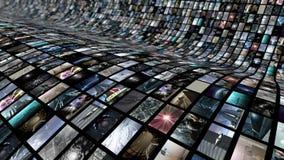 生气蓬勃的录影墙壁,弯曲 圈能4K 皇族释放例证