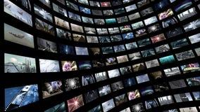 生气蓬勃的录影墙壁,转动与绿色屏幕4K 库存例证