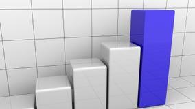 生气蓬勃的生长图或灰色和蓝色长条图 库存例证
