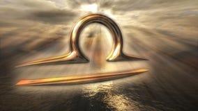 生气蓬勃的神秘的金黄黄道带占星天秤座标志 回报4k的3D 向量例证