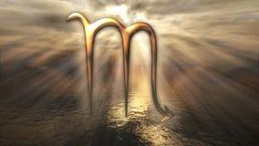 生气蓬勃的神秘的金黄黄道带占星天蝎座标志 回报4k的3D 向量例证