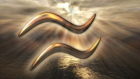 生气蓬勃的神秘的金黄黄道带占星宝瓶星座标志 回报4k的3D 皇族释放例证