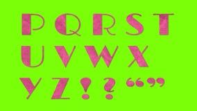 生气蓬勃的纸保险开关减速火箭的葡萄酒字体在色度钥匙绿色屏幕背景动画隔绝了所有信件 库存例证