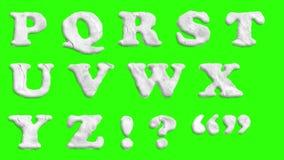 生气蓬勃的纸保险开关字体在色度钥匙绿色屏幕背景动画隔绝了所有信件,标点,和 皇族释放例证