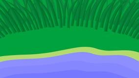 生气蓬勃的自然背景 地球、挥动的池塘和移动的草 无缝的圈 库存例证