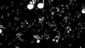 生气蓬勃的落的3d音乐笔记 黑色背景 皇族释放例证