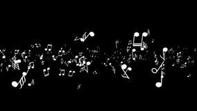生气蓬勃的落的3d音乐笔记 黑色背景 库存例证