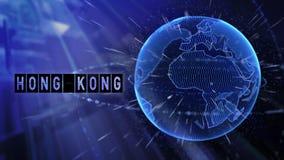 生气蓬勃的行星地球目的地向香港中国 向量例证