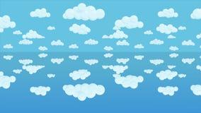 生气蓬勃的被反映的多云天空背景 覆盖水面上 无缝的圈动画 库存例证