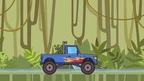 生气蓬勃的重要人物巨型卡车骑马通过移动在密林和河背景的雨林巨足兽卡车 平面 股票视频