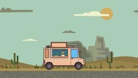 生气蓬勃的食物卡车骑马通过峡谷沙漠 在风景背景的移动的车 平的动画 股票视频