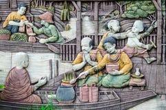 生活在雕刻纹理的古老泰国 图库摄影