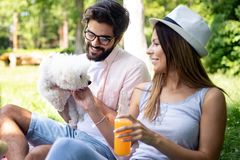 生活方式,休息在一顿野餐的愉快的夫妇在有狗的公园 库存图片