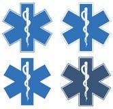 生活星形 蓝色六针对性的星在中心- Asclepius的白标尺 免版税库存图片