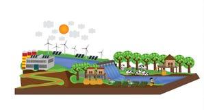 生活Infographic在水坝附近的 免版税图库摄影