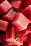 生物切成小方块的西瓜 图库摄影