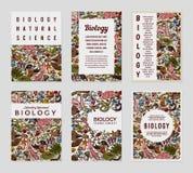 生物卡片 科学模板和横幅 书、印刷品或者网站的海报 生化发芽的豌豆研究镊子 医学 皇族释放例证