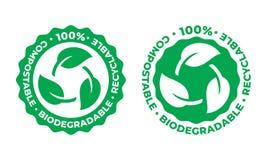 生物可分解和compostable可再循环的传染媒介象 100%生物可再循环的包裹绿色叶子 向量例证