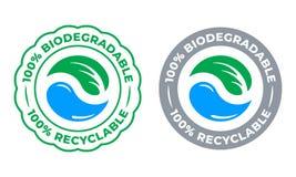 生物可分解的可再循环的100%标签传染媒介象 Eco保存生物可再循环和自然分解的包装的绿色商标 向量例证