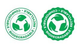 生物可分解,compostable可再循环的传染媒介象 生物可再循环的eco友好的包裹绿色叶子邮票商标 库存例证