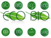 生物和eco标志。 免版税库存照片