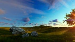 生物演化谱系图解在一个绿色草甸的,美丽的太阳发出光线,批评 向量例证