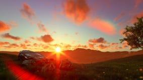 生物演化谱系图解在一个绿色草甸的,美好的日落,批评 库存例证