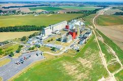 生物燃料工厂鸟瞰图 库存照片