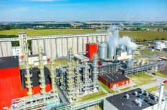 生物燃料工厂鸟瞰图 免版税图库摄影