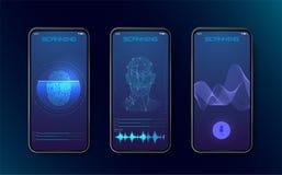 生物统计的指纹扫描器、面貌识别和语音识别的授权证明与未来派 向量例证