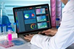 生物医学工程与计算机一起使用在实验室 免版税库存照片