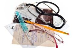 医生用于的医疗项目静物画对待 免版税库存图片