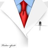 医生衣服现实图形设计传染媒介与红色领带的 免版税图库摄影