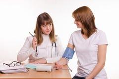 医生进行与患者的讨论,被测量的压力 免版税库存图片