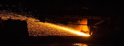 生铁-冶金生产 免版税库存照片