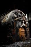 生锈的工业燃煤锅炉 免版税图库摄影