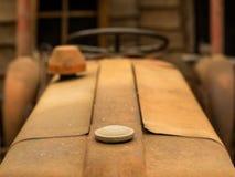生锈的拖拉机抽象特写镜头  免版税库存照片
