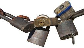 生锈的挂锁链子被隔绝的白色 库存照片