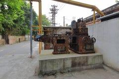 生锈的机器在redtory创造性的庭院,广州,瓷里 库存照片