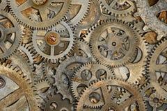 生锈的机器嵌齿轮背景 免版税图库摄影